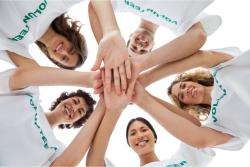 volunteers showing unity and teamwork